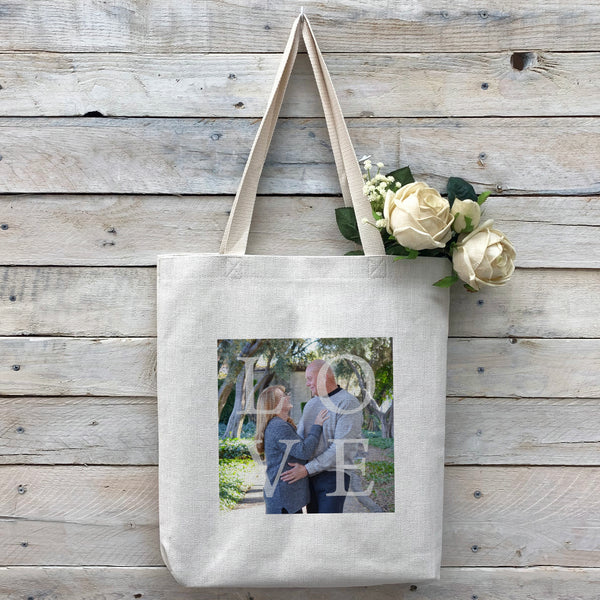 "Custom ""LOVE"" Tote Bag, Linen Bag, Personalized Tote Bag, Custom Bag, Personalized Linen Bag, Personalized Bag, Custom Photo Bag, Custom Picture Bag, Personalized Photo Bag"