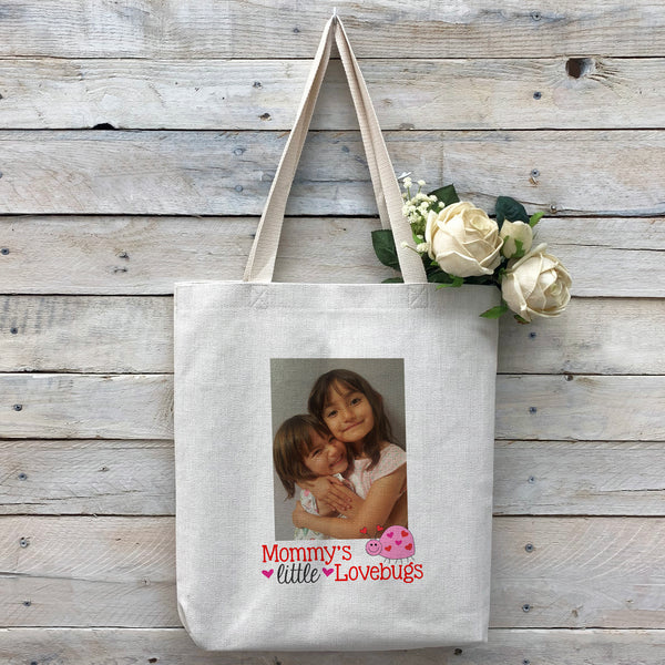 "Custom ""Lovebugs"" Tote Bag, Linen Bag, Personalized Tote Bag, Custom Bag, Personalized Linen Bag, Personalized Bag, Custom Photo Bag, Custom Picture Bag, Personalized Photo Bag"