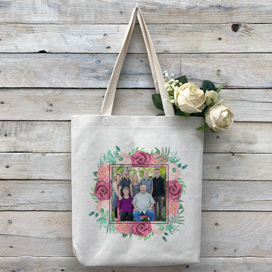 Custom Flower Frame Photo Tote Bag, Linen Bag, Personalized Tote Bag, Custom Bag, Personalized Linen Bag, Personalized Bag, Custom Photo Bag, Custom Picture Bag, Personalized Photo Bag