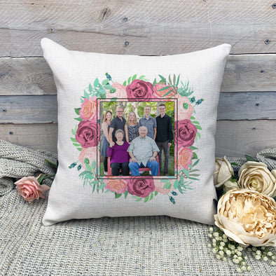 Custom Floral Frame Pillowcase, Custom Photo Pillowcase, Picture Pillowcase, Linen Pillowcase, Personalized Photo Pillowcase, Custom Pillow Cover, Custom Photo Pillow Cover