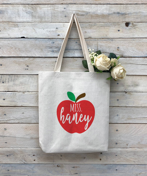 "Custom Teacher Tote Bag, Teacher Bag, Personalized Tote Bag ""Miss Haney"""