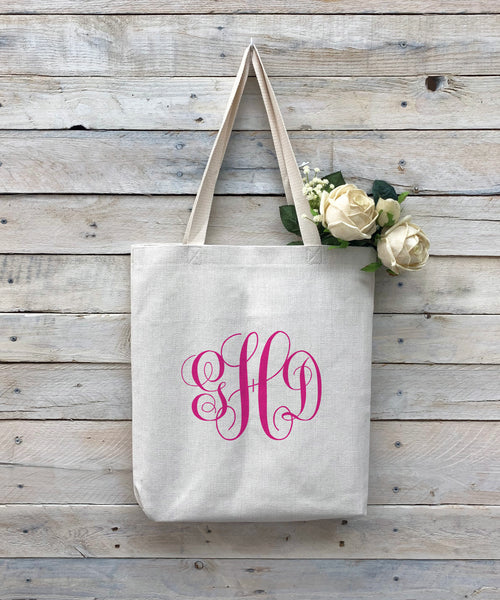 "Custom Monogram Tote Bag, Linen Bag, Personalized Tote Bag ""GHD"""
