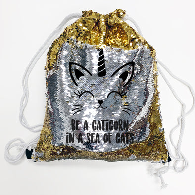 "Reversible Sequin Drawstring Bag, Personalized Sequin Bag ""Be a Caticorn"""