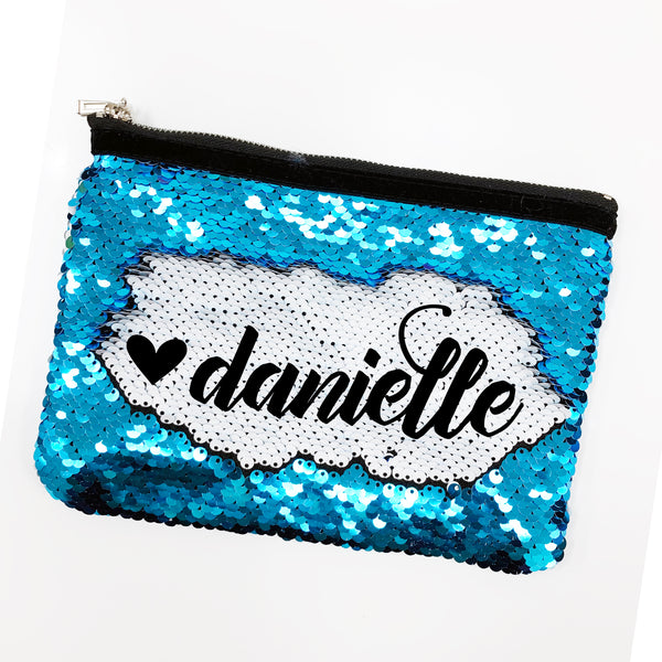 "Reversible Sequin Makeup/Pencil Bag, Personalized Sequin Bag ""Danielle"""