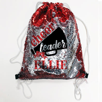 "Reversible Sequin Drawstring Bag, Personalized Sequin Bag ""Ellie Cheer"""