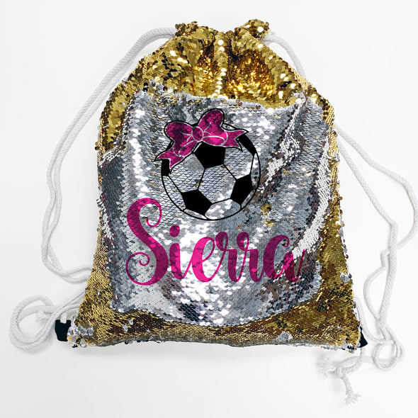 "Reversible Sequin Drawstring Bag, Personalized Sequin Bag ""Sierra Soccer"""