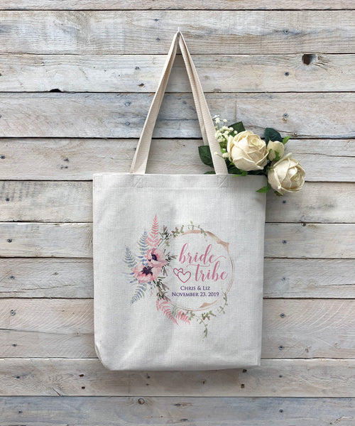 "Custom Bride Tribe Tote Bag, Linen Bag, Personalized Tote Bag ""Chris & Liz"""