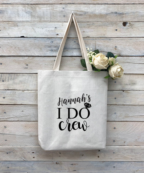 "Custom Bridal Party Tote Bag, Linen Bag, Personalized Tote Bag ""Hannah's I Do Crew"""