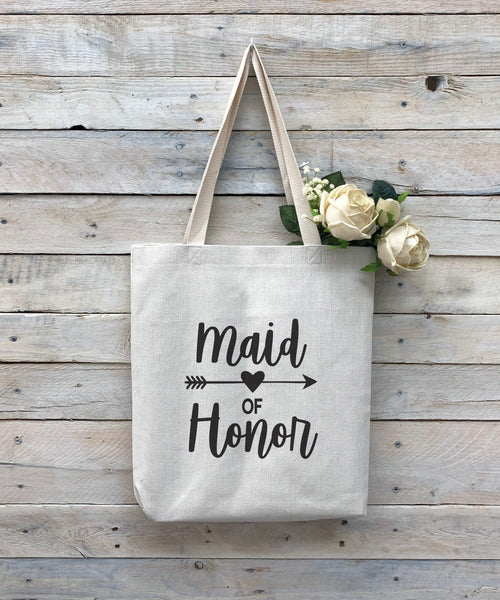 "Custom Maid of Honor Tote Bag, Linen Bag, Personalized Tote Bag ""Maid of Honor"""