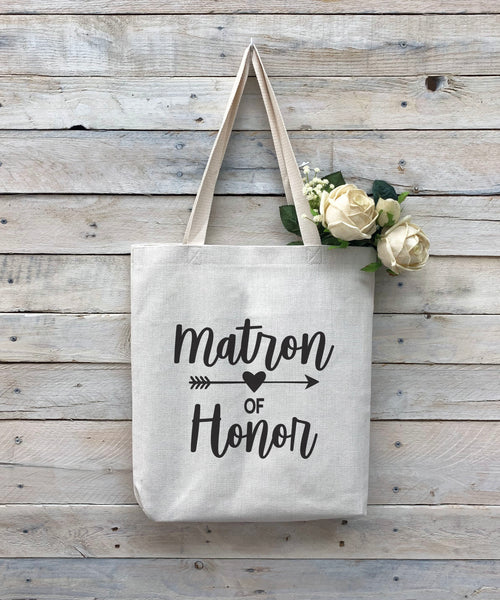 "Custom Matron of Honor Tote Bag, Linen Bag, Personalized Tote Bag ""Matron of Honor"""