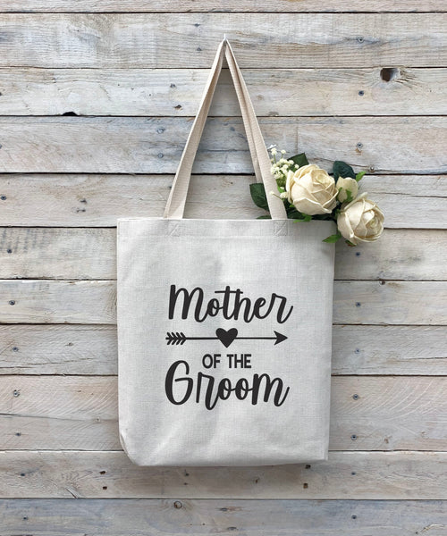 "Custom Mother of the Groom Tote Bag, Linen Bag, Personalized Tote Bag ""Mother of the Groom"""