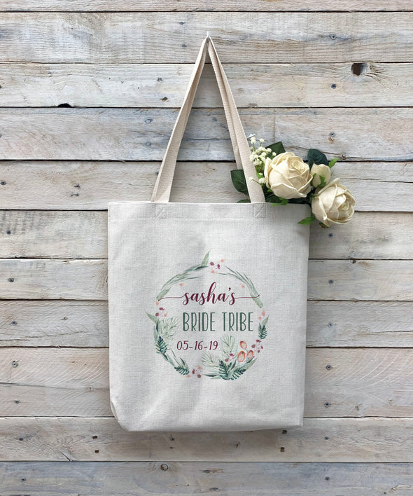 "Custom Bride Tribe Tote Bag, Linen Bag, Personalized Tote Bag ""Sasha's Bride Tribe"""