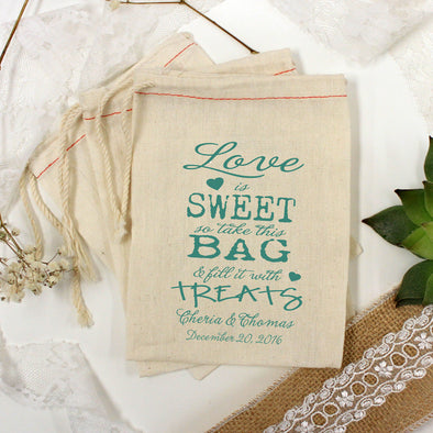 "Muslin Bag Love is Sweet ""Cheria & Thomas"" - Set of 25"