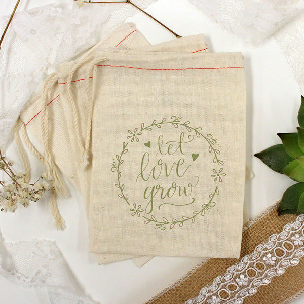 "Muslin Bag - ""Let Love Grow Floral Border"" - Set of 25"