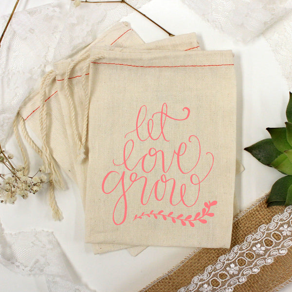 "Muslin Bag - ""Let Love Grow Leaf Underline"" - Set of 25"