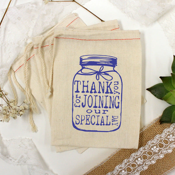 "Muslin Bag - ""Mason Jar Thank You"" - Set of 25"