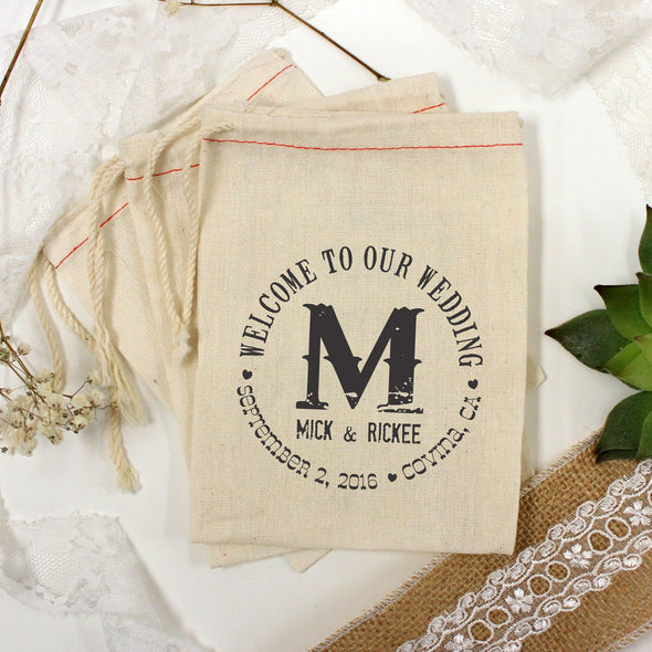 "Muslin Bag - ""Welcome to Our Wedding Mick & Rickee"" - Set of 25"