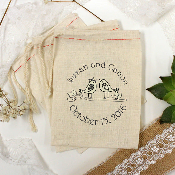 "Muslin Bag - ""Susan & Canon Lovebirds"" - Set of 25"