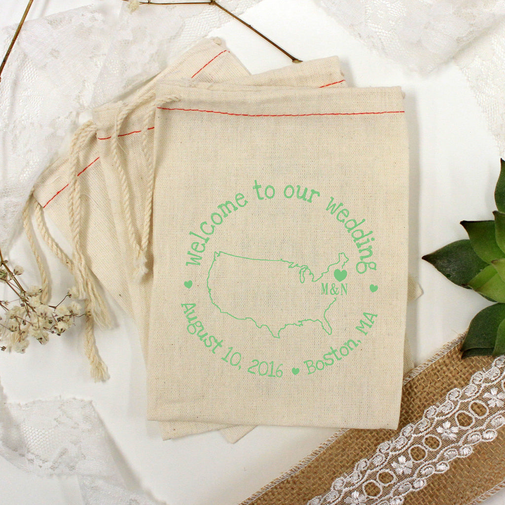 "Muslin Bag - ""Welcome to Our Wedding Map & Initials"" - Set of 25"