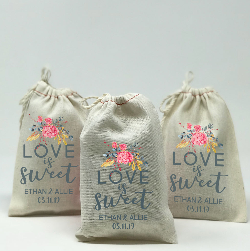 Personalized Love Is Sweet Favor Bags