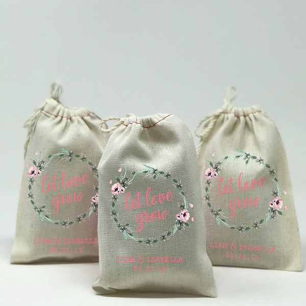 Let Love Grow Inside Reef Design Wedding Favor Bags