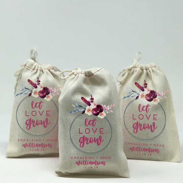 Custom Let Love Grow 25 Set Wedding Favor Bags