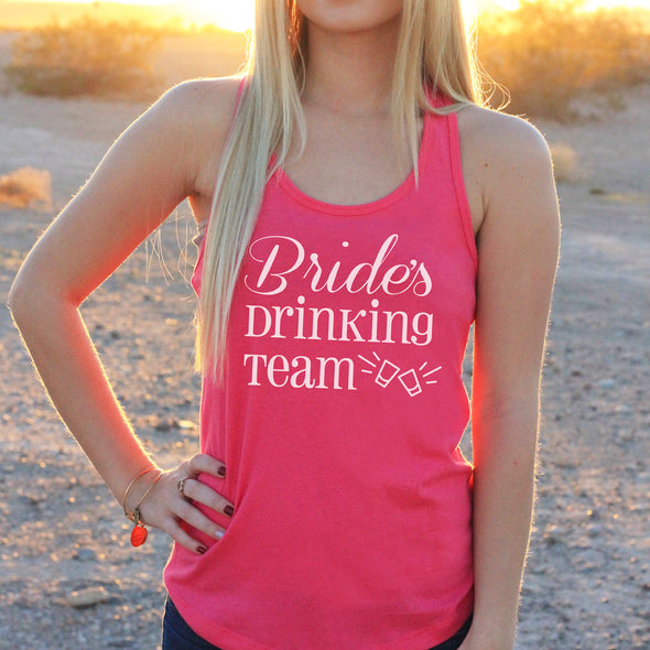 "Women's Razor Back Tank Top ""Bride's Drinking Team"""