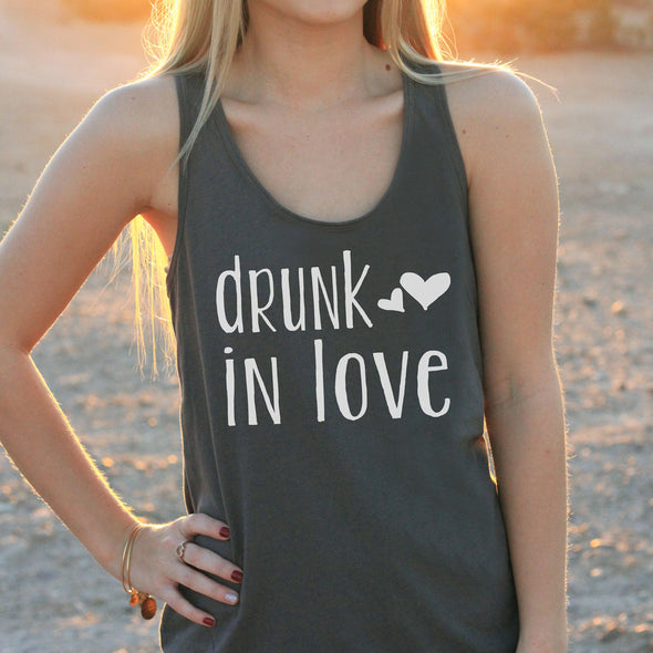 "Women's Razor Back Tank Top ""Drunk in Love"""