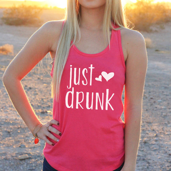 "Women's Razor Back Tank Top ""Just Drunk"""