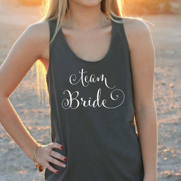 "Women's Razor Back Tank Top ""Team Bride"""