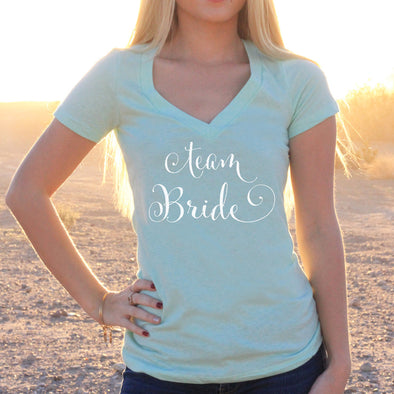 "Women's V-Neck T-Shirt ""Team Bride"""