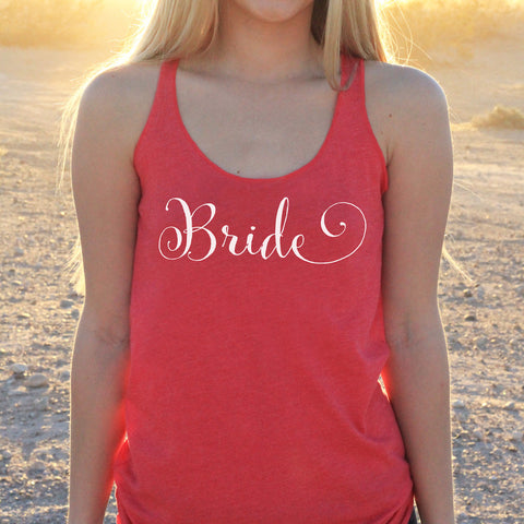 "Women's Razor Back Tank Top ""Bride"""