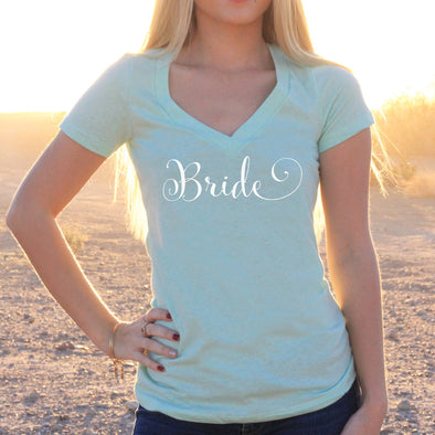 "Women's V-Neck T-Shirt ""Bride"""