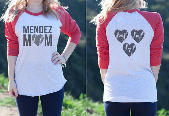"Women's Baseball Tee ""Mendez Mom"" (Front & Back)"