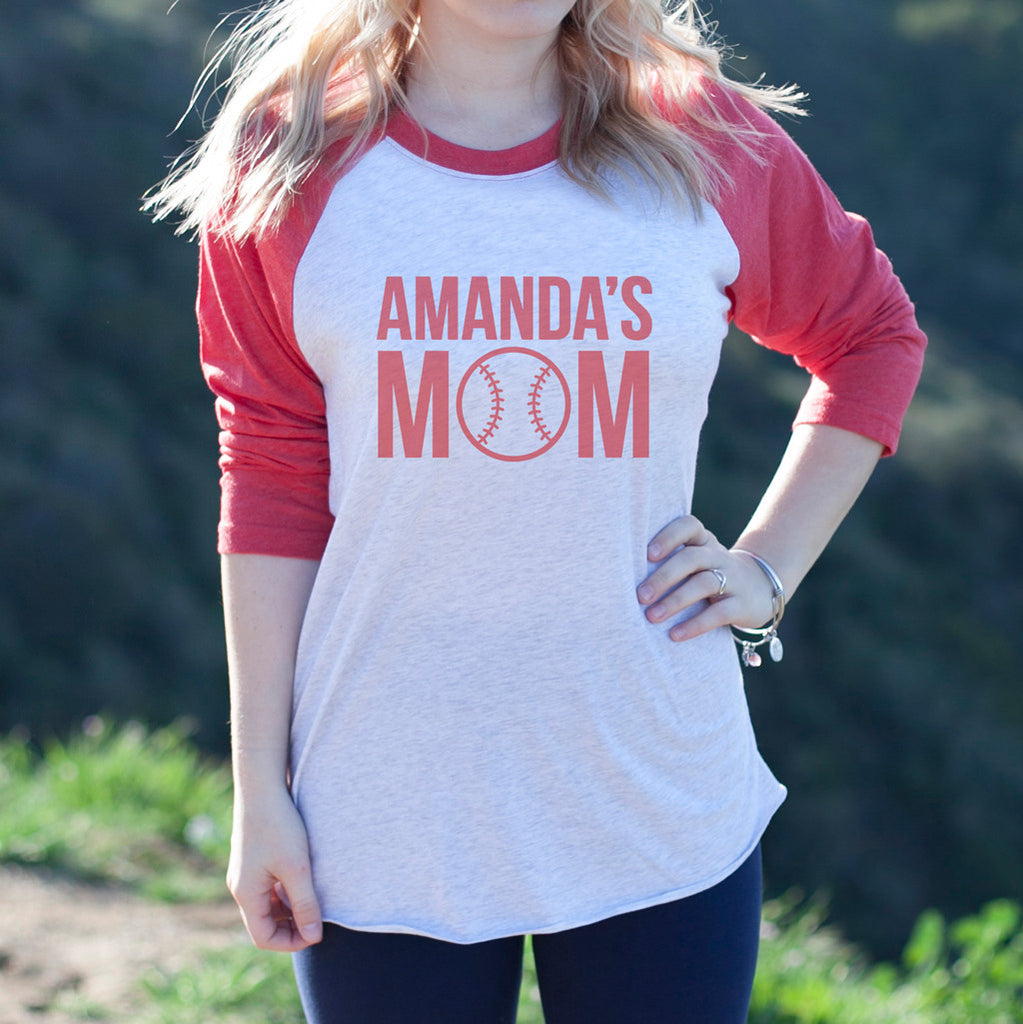 "Women's Baseball Tee ""Amanda's Mom Softball"""
