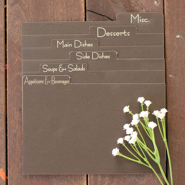Custom Engraved Recipe Dividers - Set of 6