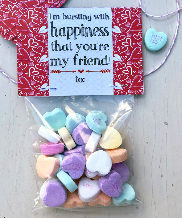 "Valentine Cards with Goodie Bags (Set of 20) - ""Bursting with Happiness"""