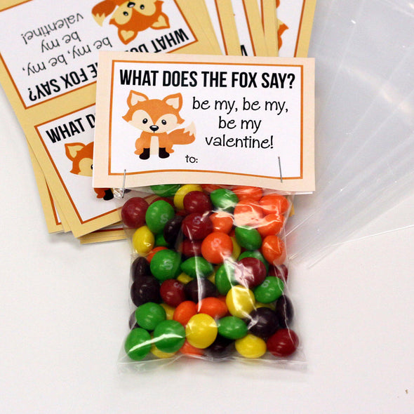 "Valentine Cards with Goodie Bags (Set of 20) - ""What does the Fox say"""