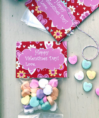 "Valentine Cards with Goodie Bags (Set of 20) - ""Happy Valentines Day"""