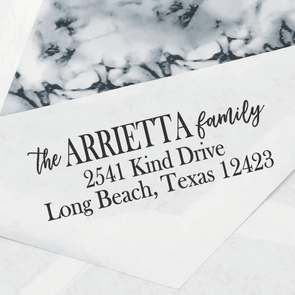 "Family Name Custom Return Address Stamp, Personalized Return Address Stamp, Return Address Stamp ""The Arrietta Family"""