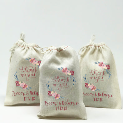 Custom Thank You Wedding Favor Bags