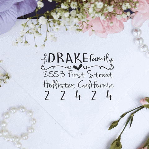 "Return Address Stamp, Custom Stamp, Personalized Stamp ""Drake Family"""