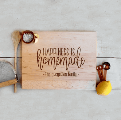 "Custom Maple Cutting Board ""Happiness is Homemade"""