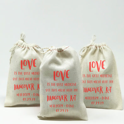 Personalized Love Hangover Kit Bags