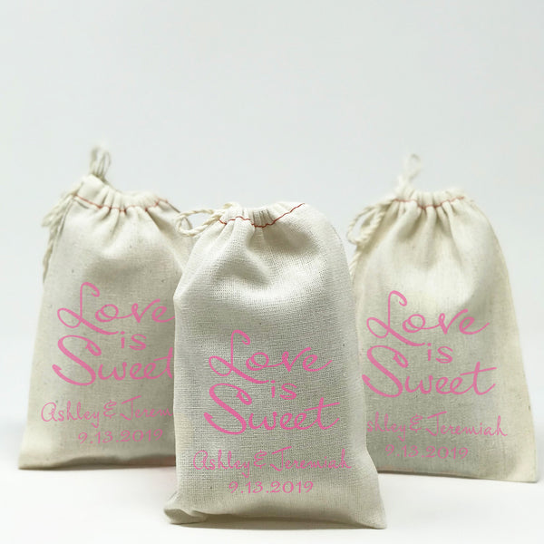 Love Is Sweet Favor Bags Personalized