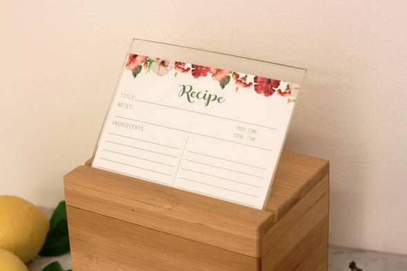 "Custom Engraved Recipe Box, Personalized Recipe Box, ""Victorias Est"""
