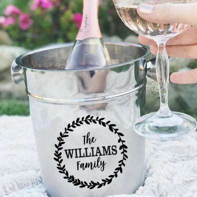 Personalized Ice Bucket - Family Last Name with Wreath