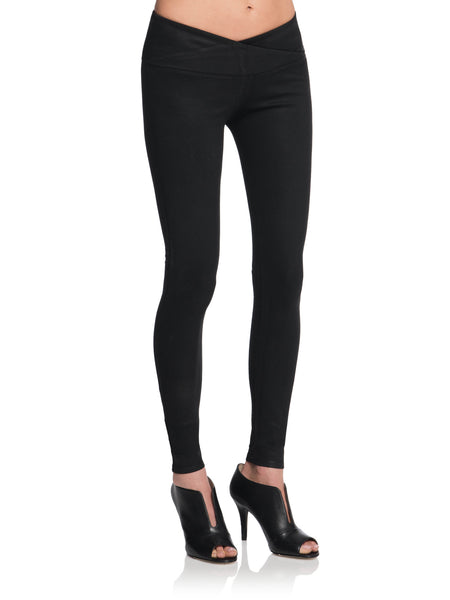 DAN Wax Coated Mid-Rise Cross Panel Waistband Legging