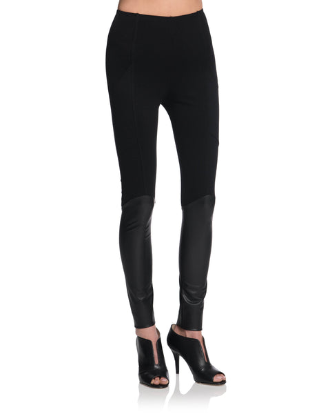 JUDAH Leather Knee-High Leggings with Pockets