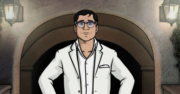 cyril from archer wearing a tropical white on white suit